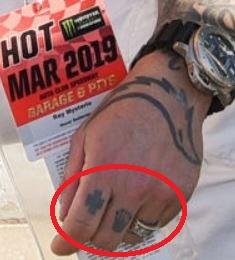 Rey symbols on left hand fingers