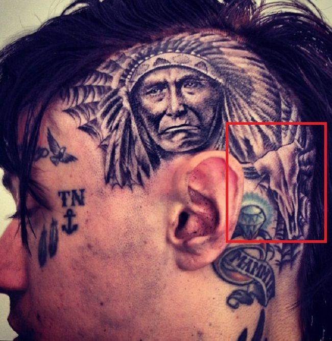 Trace Cyrus-Bull Skull Tattoo