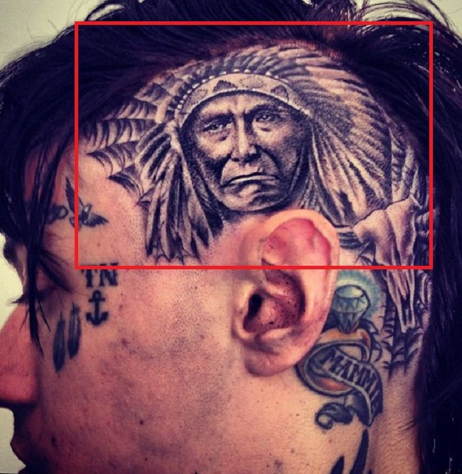 Trace Cyrus-Chief Joseph-Native American Tattoo