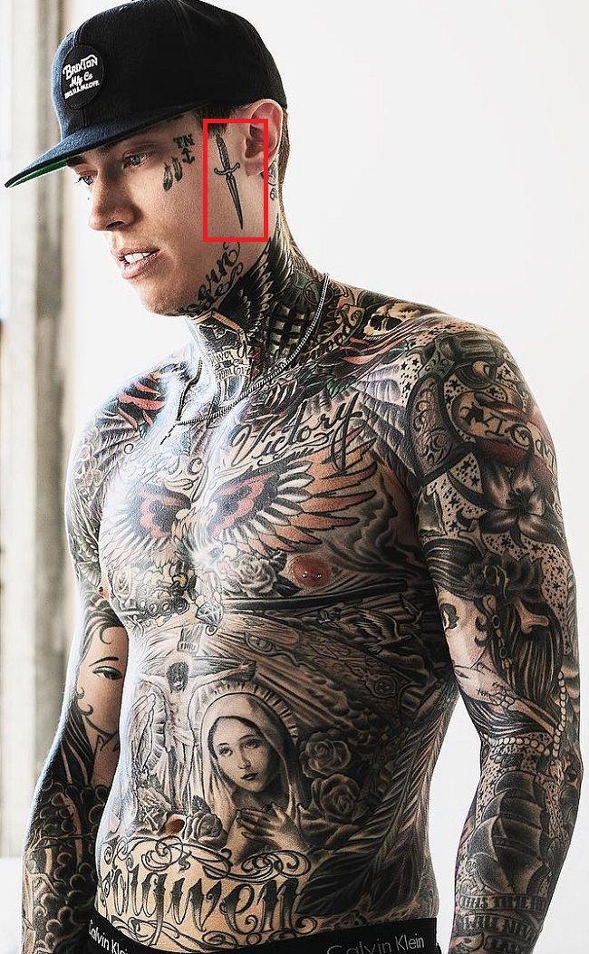 Trace Cyrus-Dagger Tattoo