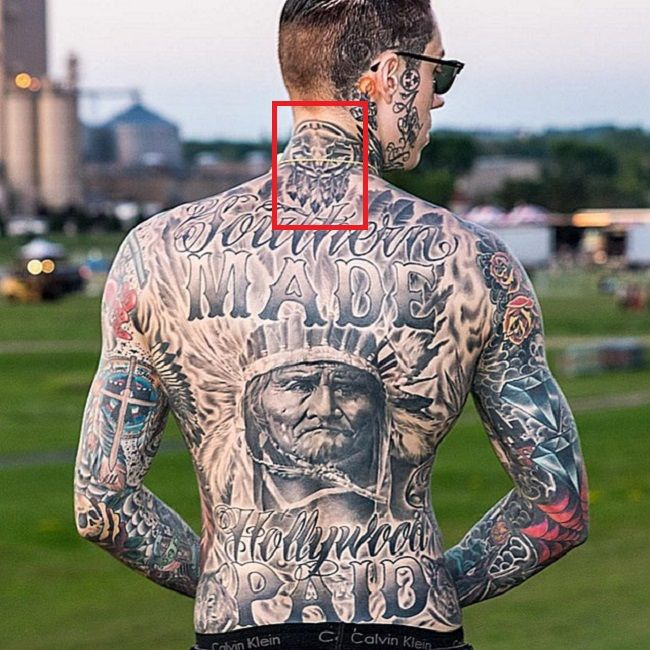 Trace Cyrus-Dream Catcher with Long Horn Skull Tattoo