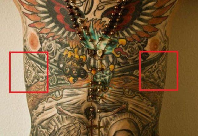 Trace Cyrus-Flying Birds Tattoo-Abdoman Tattoo