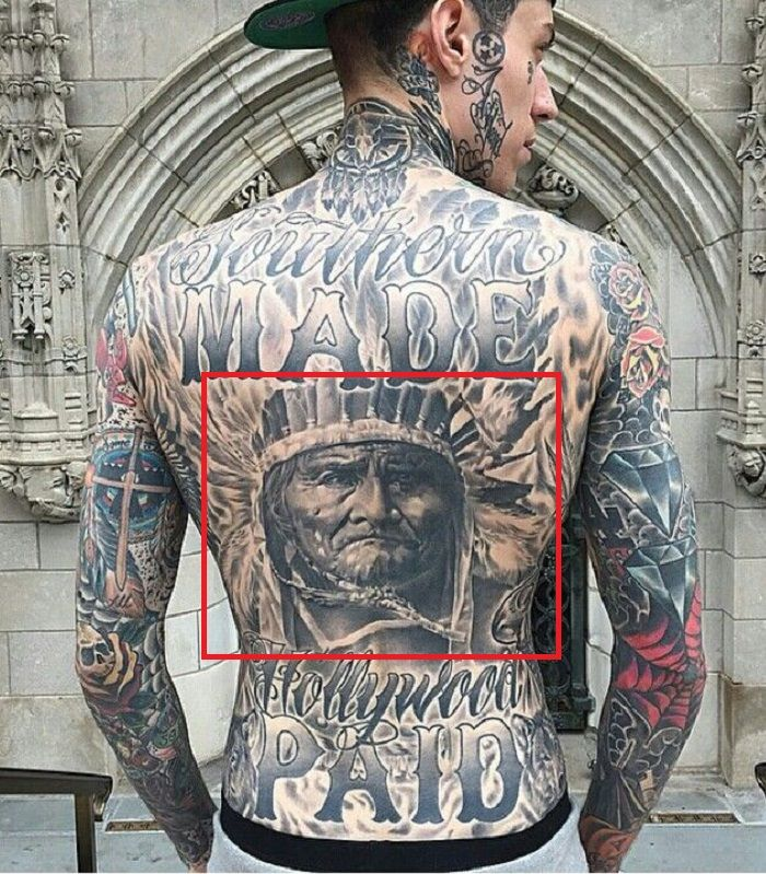 Trace Cyrus-Geronimo Portrait with a Headdress Tattoo