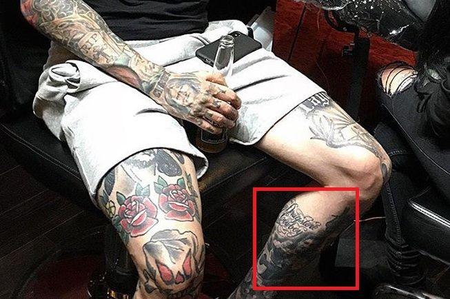Trace Cyrus Leg Tattoo