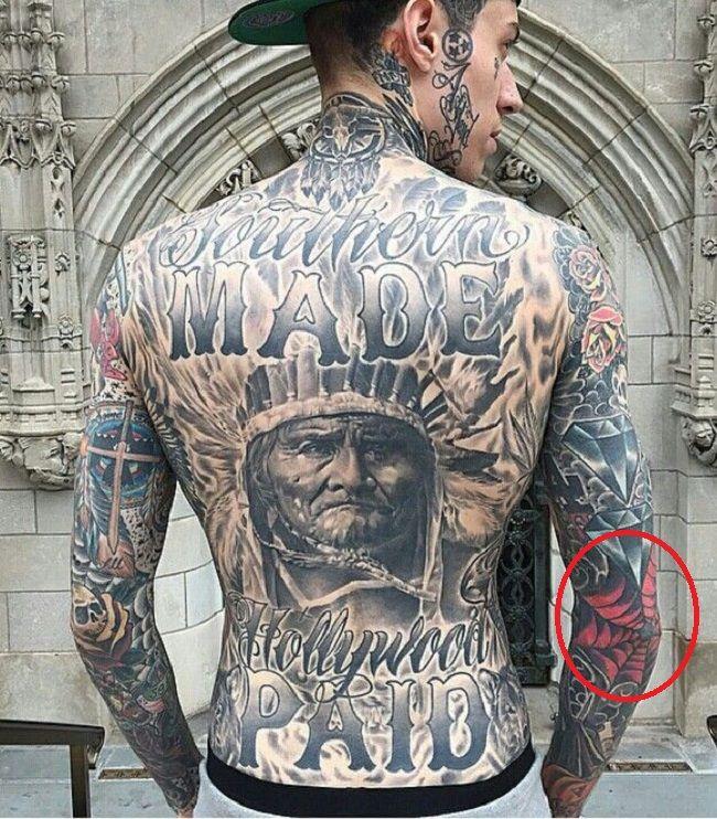 Trace Cyrus-Spider Web Tattoo