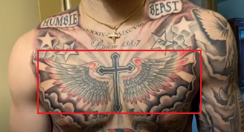 LiAngelo Ball-Cross with Wings Tattoo
