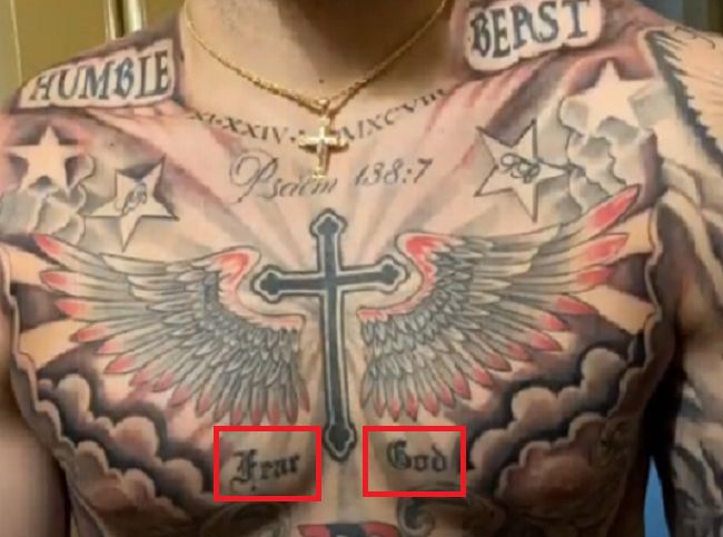 LiAngelo Ball-Fear God tattoo