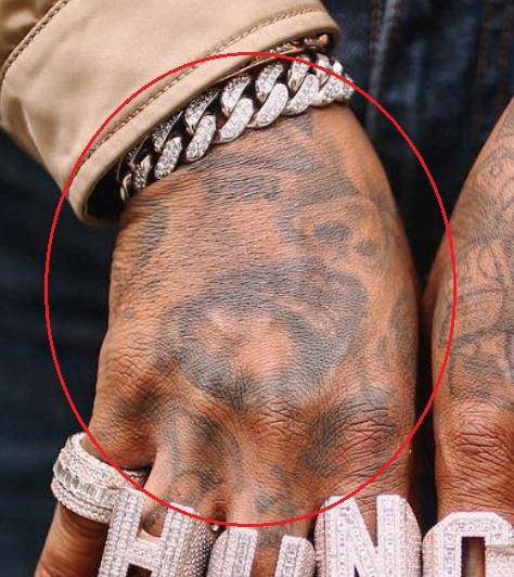 Quavo face tattoo
