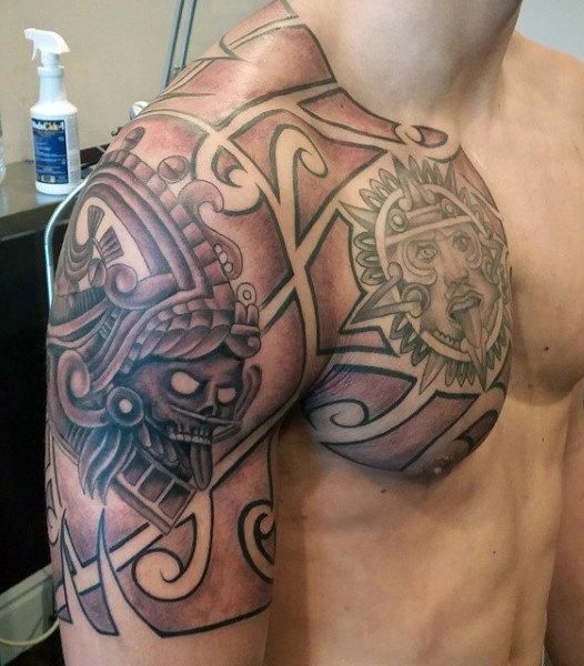 aztec art tattoos for guys on upper arm