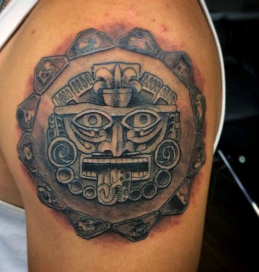 aztec culture tattoos for men on upper arm