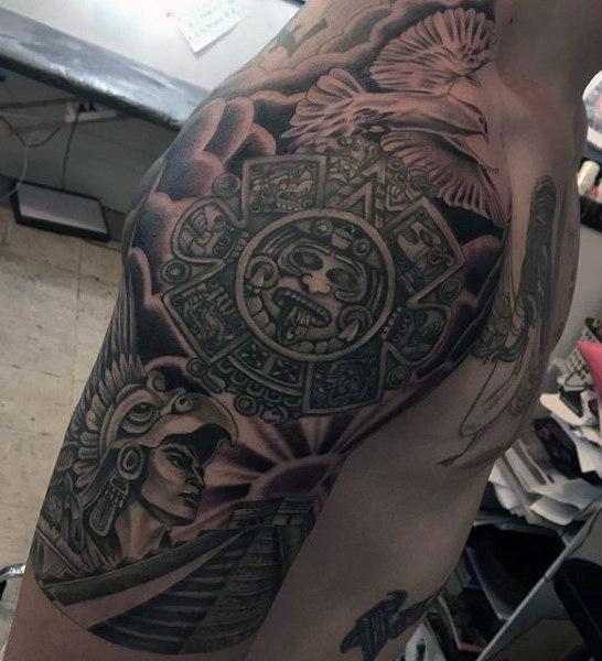 aztec half sleeve black tattoos for men