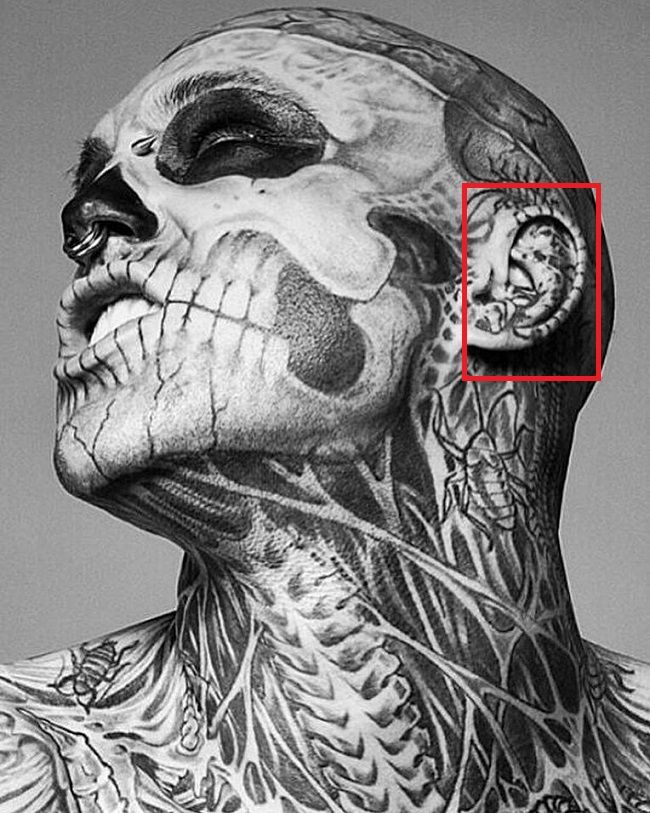 Rick Genest-Left Ear-Tattoo