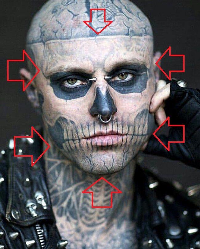 Rick Jenest-Zombie Skull Pattern-Tattoo