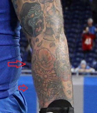 Taylor Decker flowers tattoo
