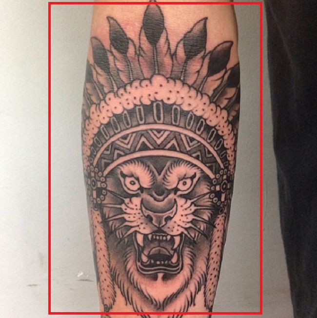 Josh Beech-Lion Headdress-Tattoo