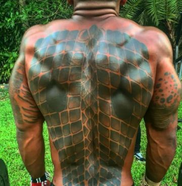 Mike Holston back tattoo