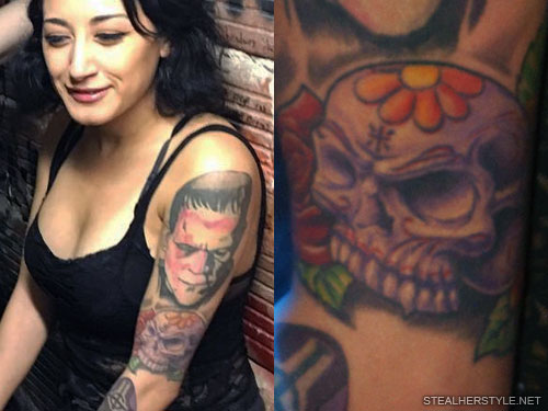alexia rodriguez skull arm tattoo