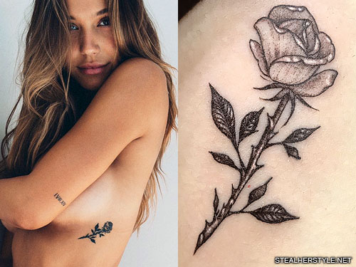 alexis ren rose side tattoo