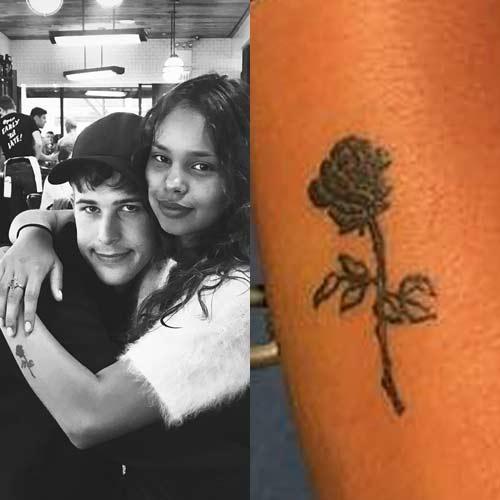 alisha boe flower arm tattoo