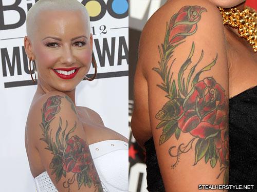 amber rose roses arm tattoo
