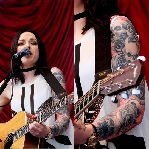 amy macdonald skulls full sleeve tattoo