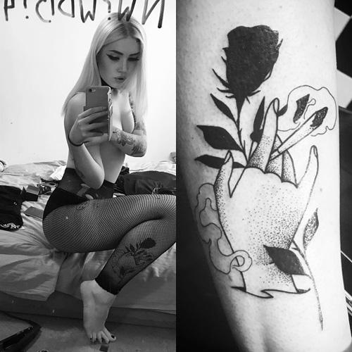 angie hand rose calf tattoo