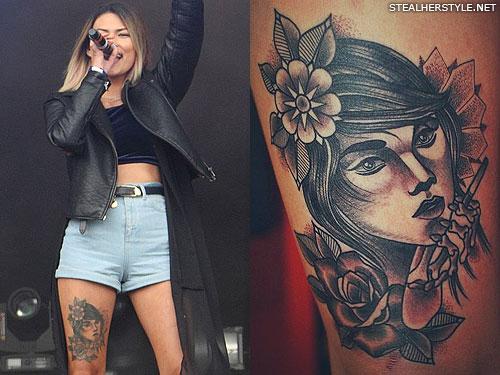 asami zdrenka tattoo thigh portrait