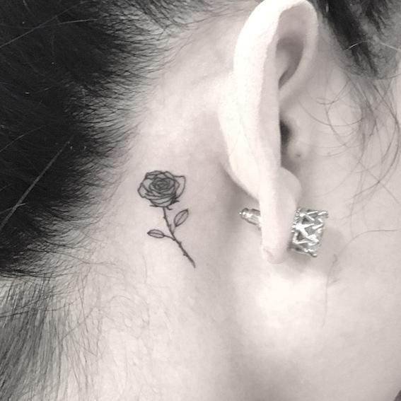 beautyybird yasmin rose behind ear tattoo