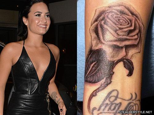 demi lovato rose forearm tattoo