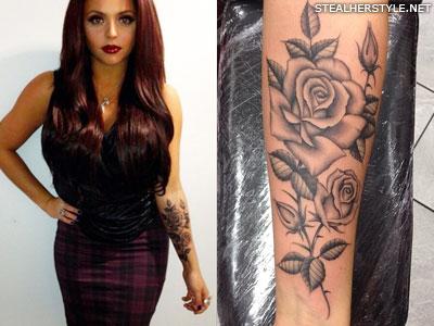 jesy nelson roses arm tattoo