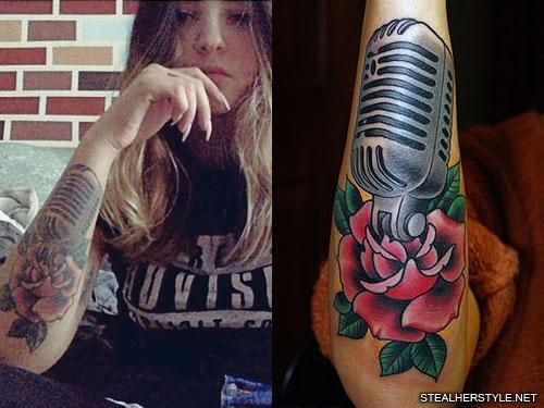 julia michaels vintage microphone arm tattoo