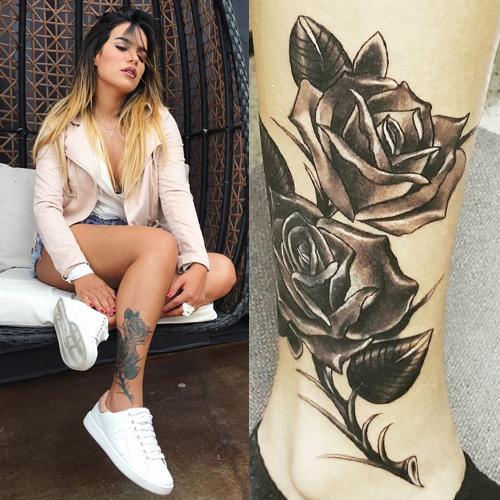 karol g rose calf tattoo