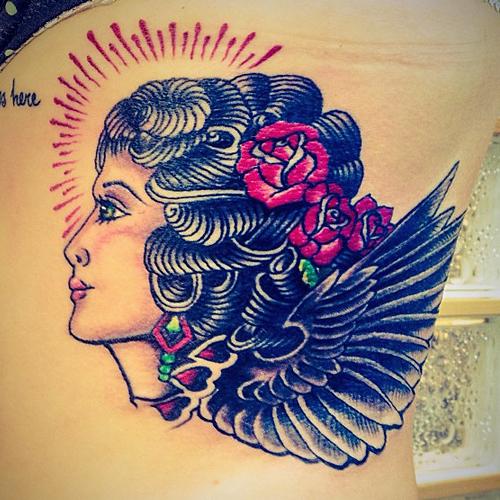 katie waissel tattoo side portrait