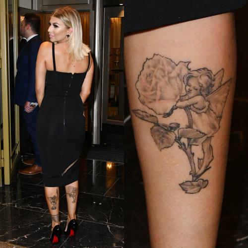 olivia buckland angel rose leg tattoo