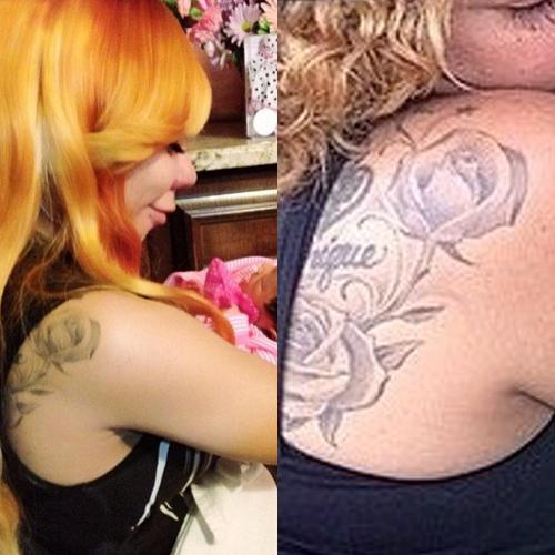 tameka tiny harris roses daughet name back tattoo