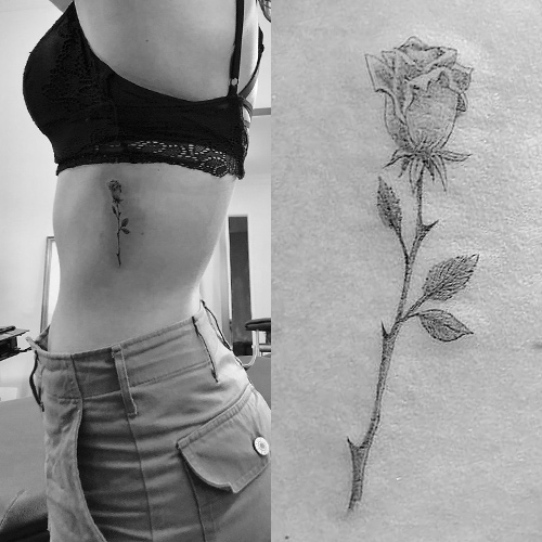willow shields rose side tattoo