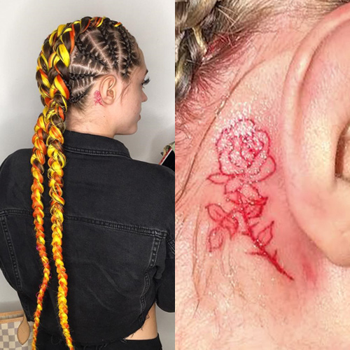 woaahvicky red rose behing ear tattoo