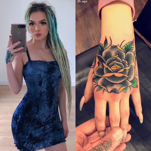 zhavia ward rose hand tattoo