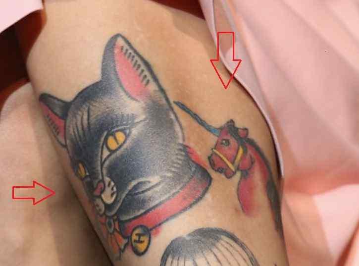 Mon Laferte cat unicorn tattoo