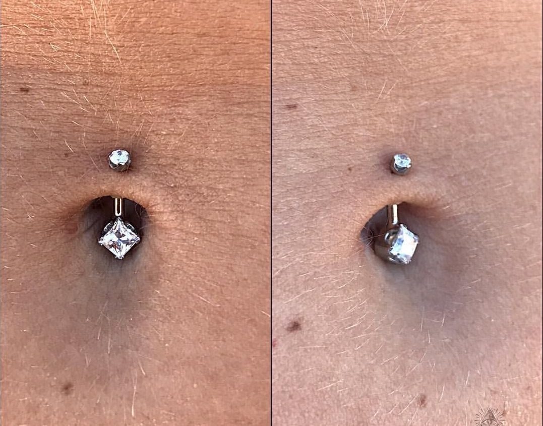 shallow navel piercing