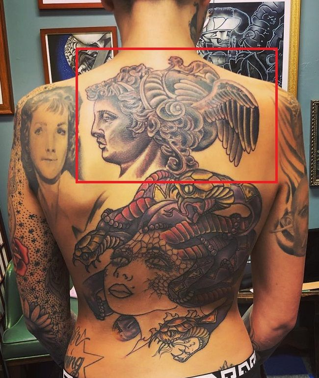 Back tattoo of Leigh Raven