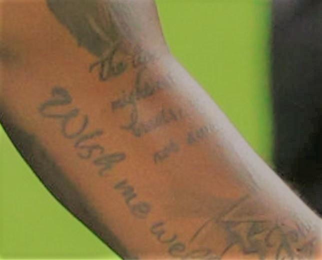 Deshaun Wish me well tattoo