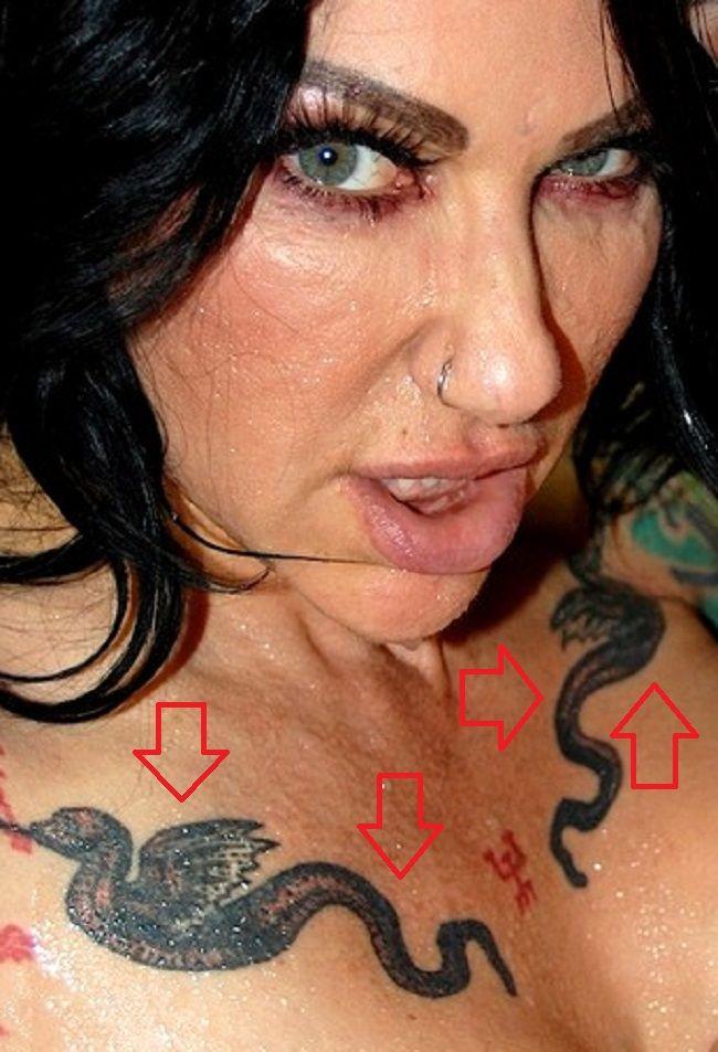 Jenevieve Hexxx-Tattoo on her chest