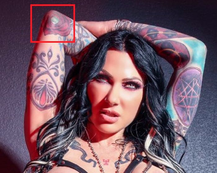 Left elbow tattoo of jenevieve hexxx