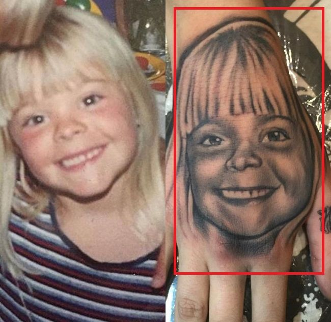 Leigh Raven Hand Tattoo Portrait