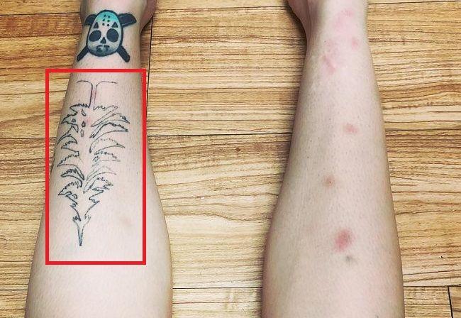 Leigh Raven Leg Tattoo