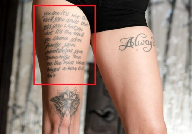 Leigh Raven R Thigh Tattoo