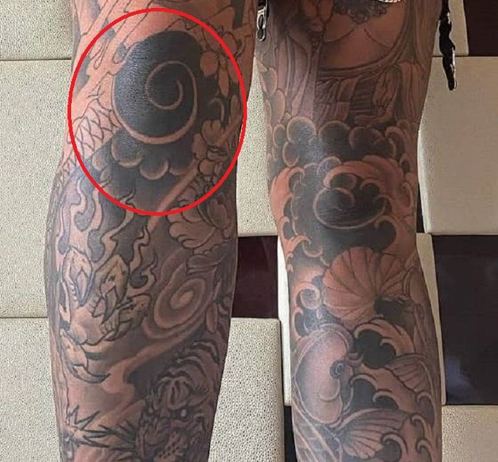 right knee tattoo of renee gracie