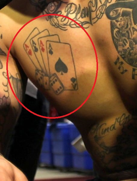 Aaron ace of cards and rolling dice tattoo