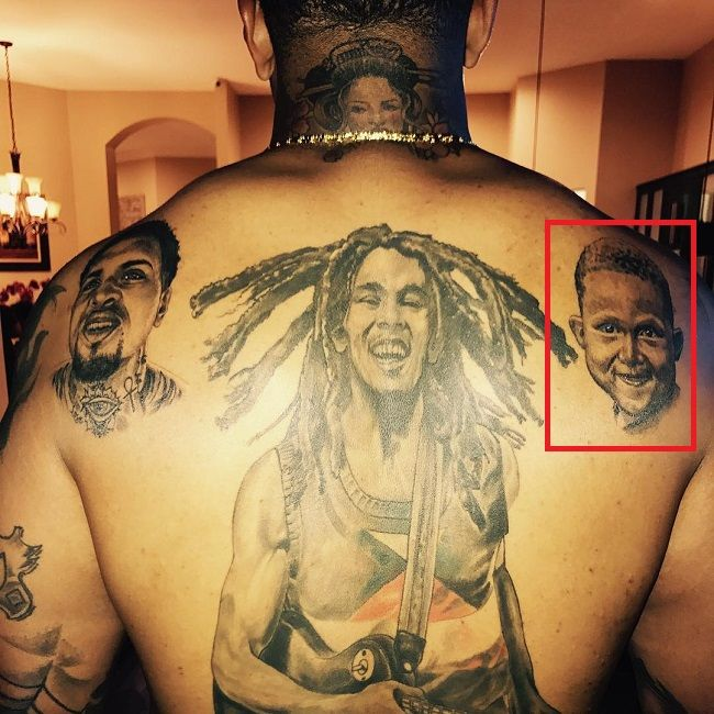 Back Tattoo of Mike pouncey tattoo